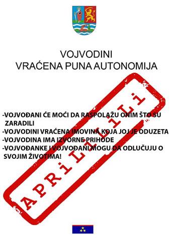 """Letak """"Vojvodini vraćena puna autonomija"""""""