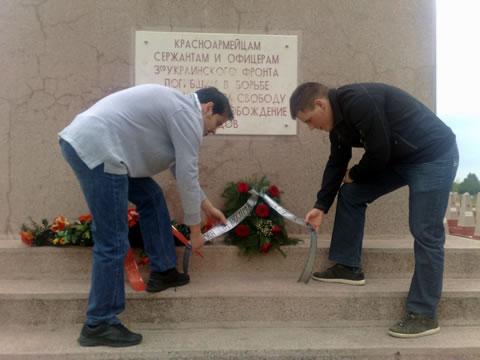 Polaganje venca na spomen obeležju crvenoarmejcima